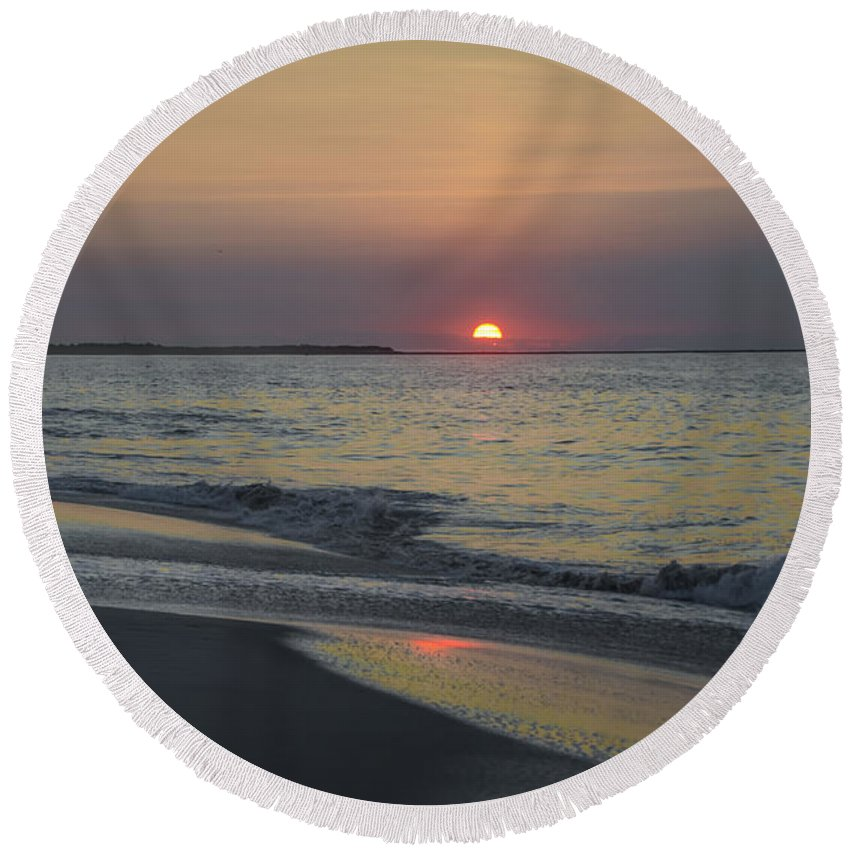 Sunrise Round Beach Towel featuring the photograph Sunrise On Cape May Inlet by Bill Cannon