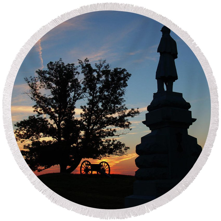 Gettysburg Round Beach Towel featuring the photograph Sunrise On East Cemetery Hill by Andrew Ward