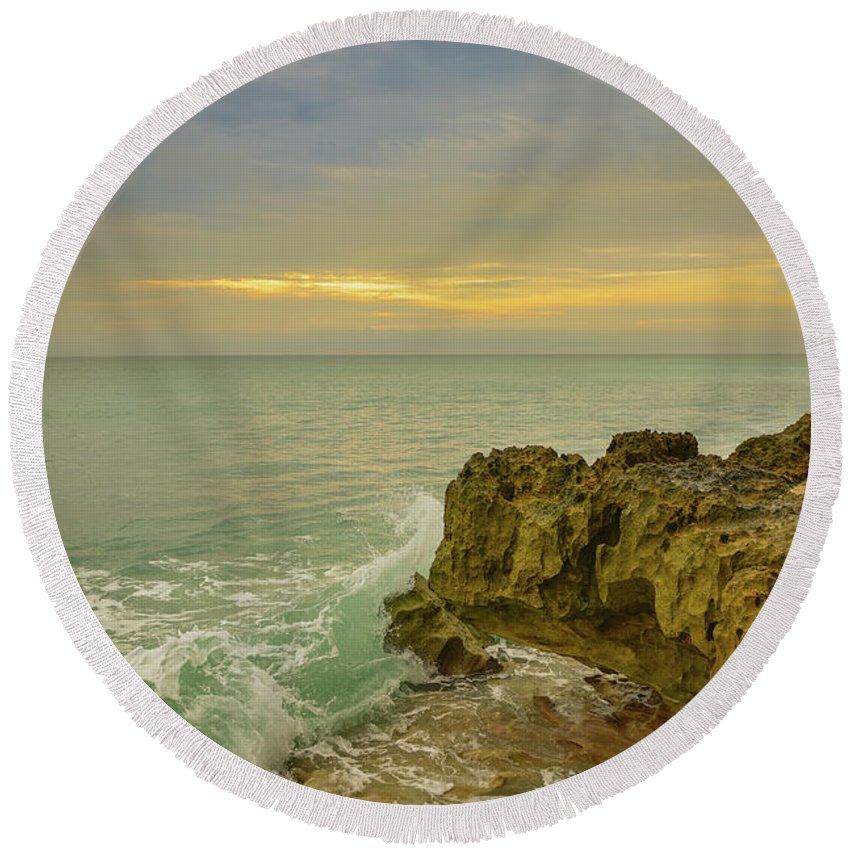 Sunrise Round Beach Towel featuring the photograph Sunrise On Hutchinson Island Florida by Olga Hamilton