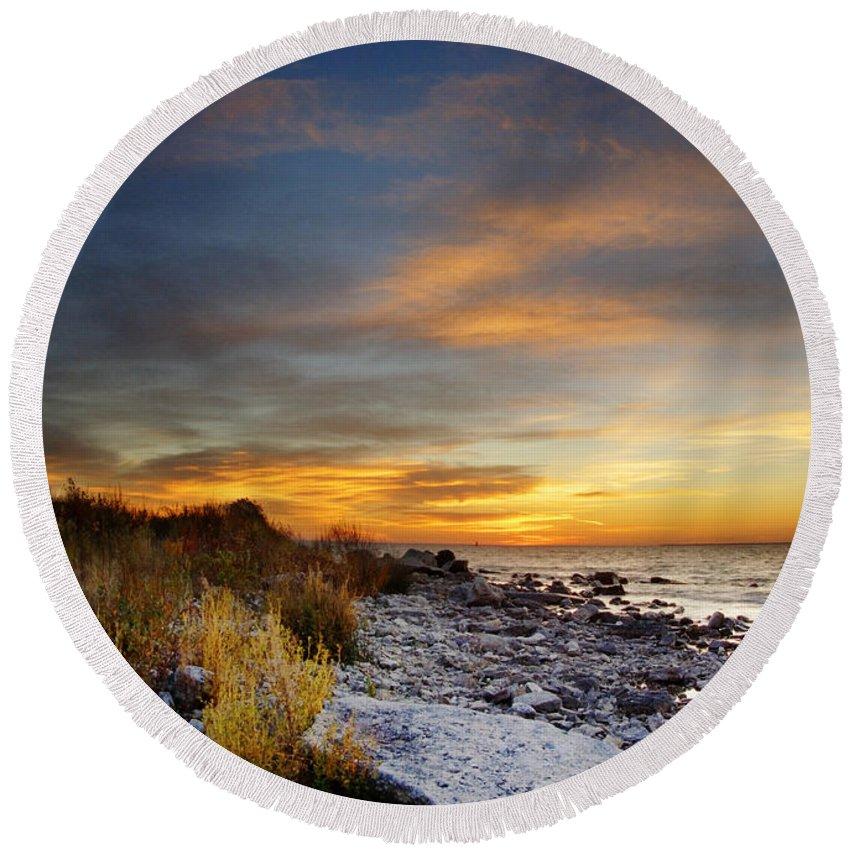 Mackinac Island Round Beach Towel featuring the photograph Sunrise On Mackinac Island by Jill Battaglia