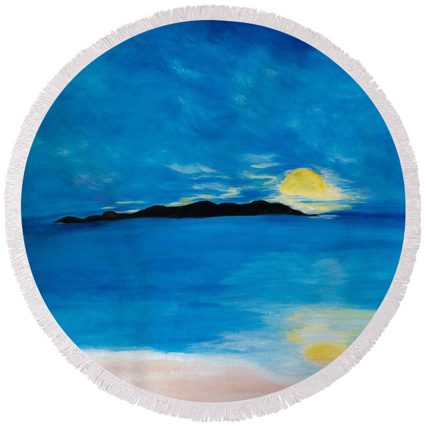 Acrylics Round Beach Towel featuring the painting Sunrise On My Emotions by Gail Nandlal