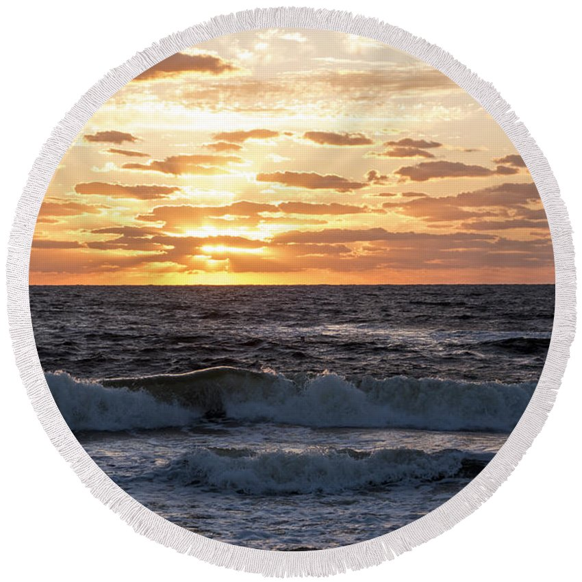 Pompano Round Beach Towel featuring the photograph Sunrise On Pompano Beach Pompano Florida by Toby McGuire