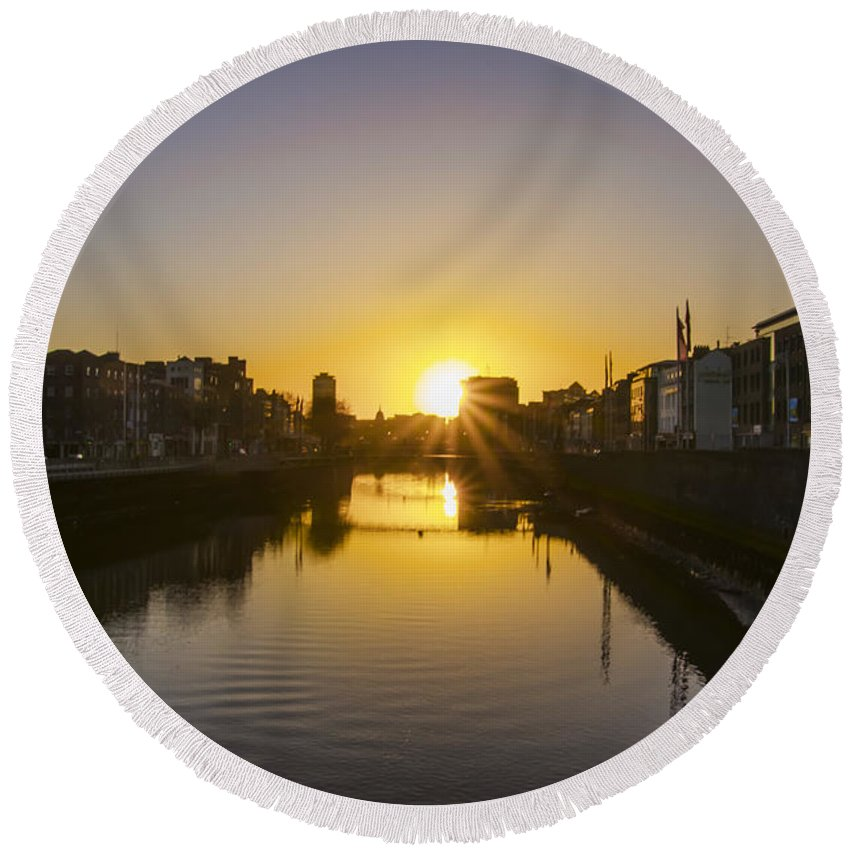 Sunrise Round Beach Towel featuring the photograph Sunrise On The Liffey River - Dublin Ireland by Bill Cannon
