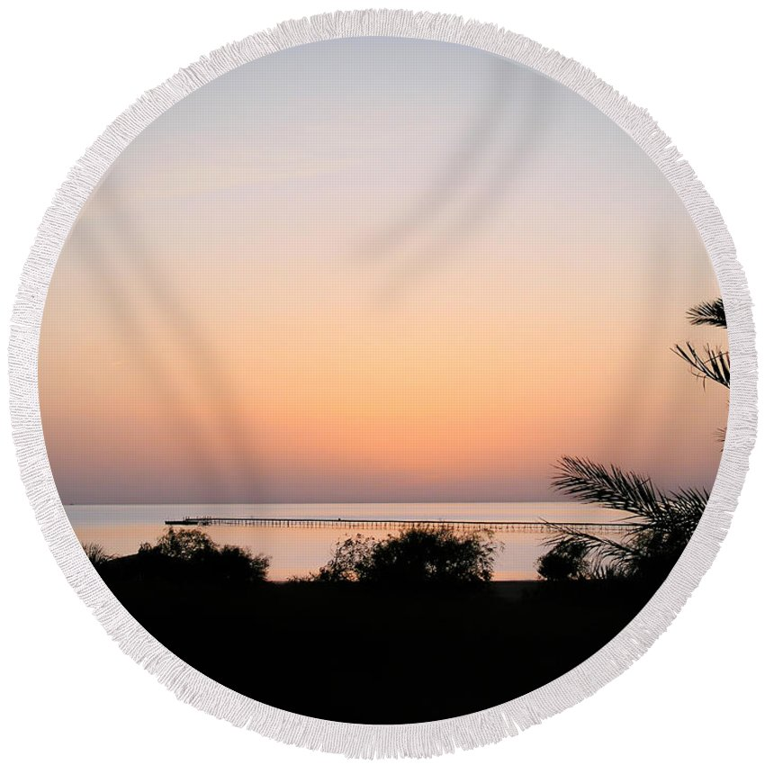 Sunrise Round Beach Towel featuring the photograph Sunrise On The Red Sea by Jean-Yves Salou