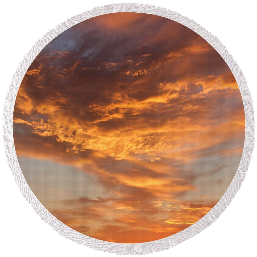 Round Beach Towel featuring the photograph Sunrise Orange Sky, Willamette National Forest, Oregon by Robert Mutch