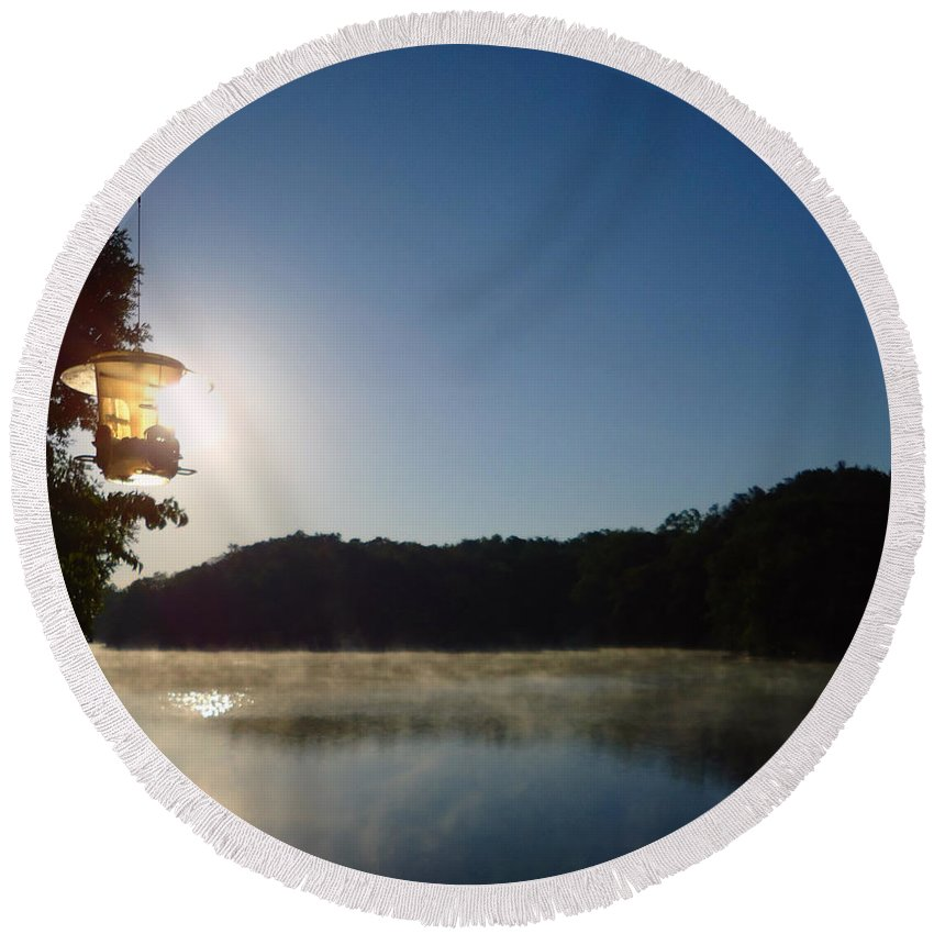 Pat Turner Round Beach Towel featuring the photograph Sunrise Over Lake Lainer by Pat Turner