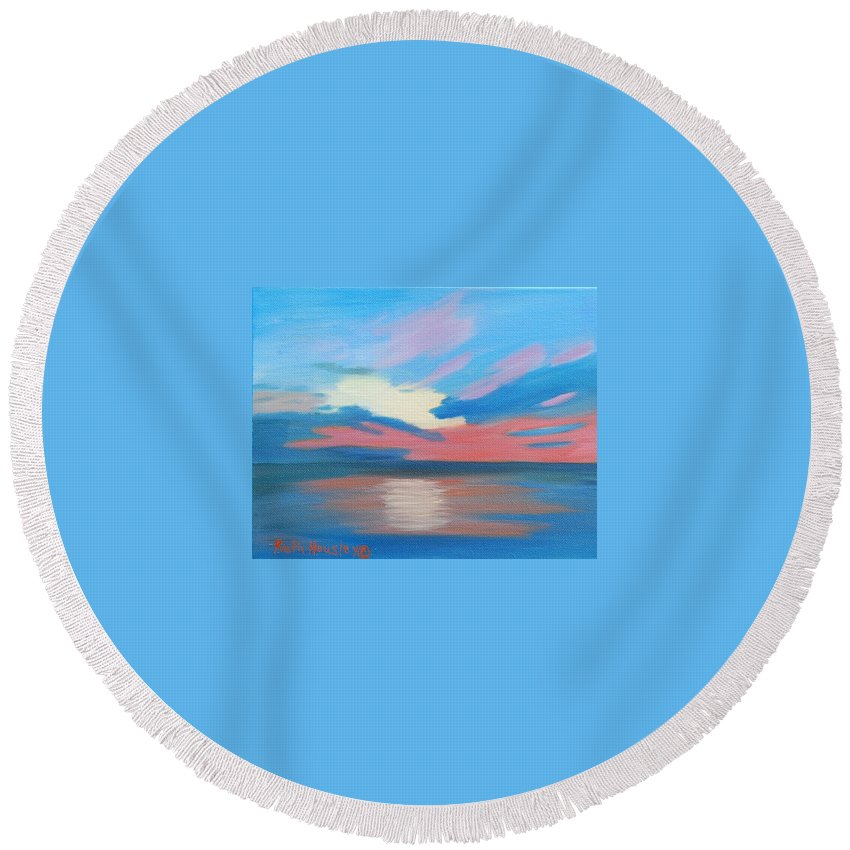 Fine Art Round Beach Towel featuring the painting Sunrise Over Ocean City Maryland by Ruth Housley
