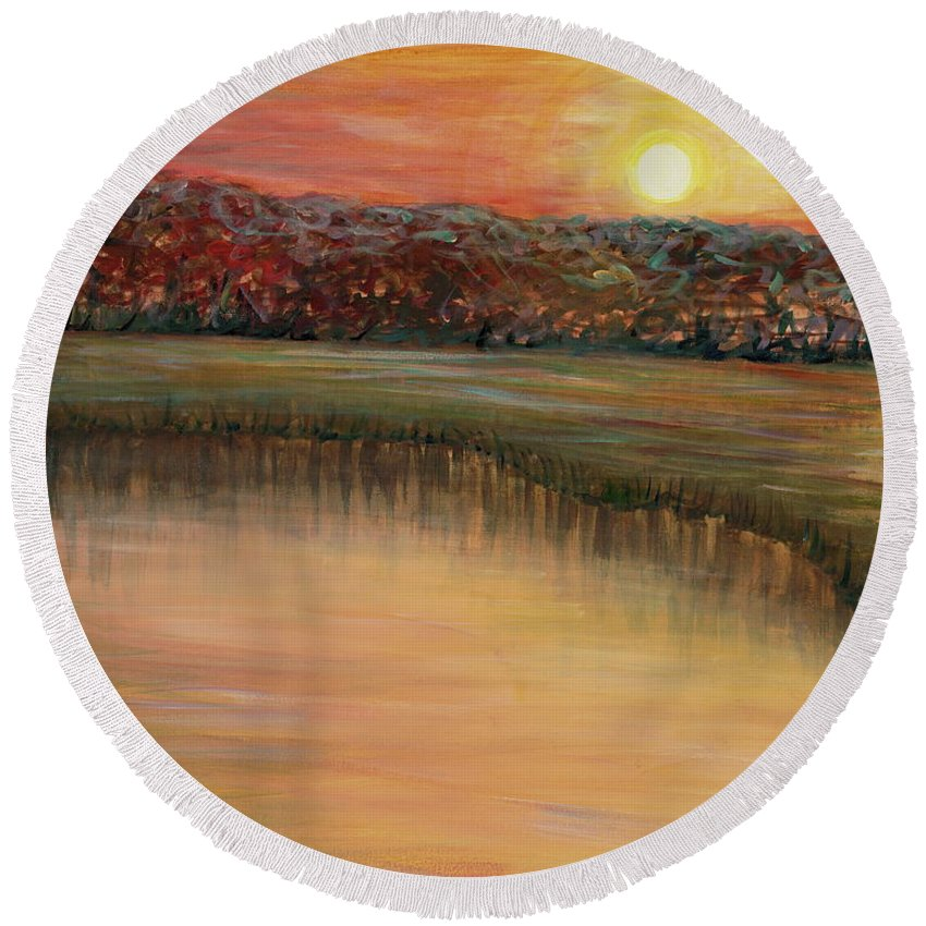 Sunrise Round Beach Towel featuring the painting Sunrise Over The Marsh by Nadine Rippelmeyer