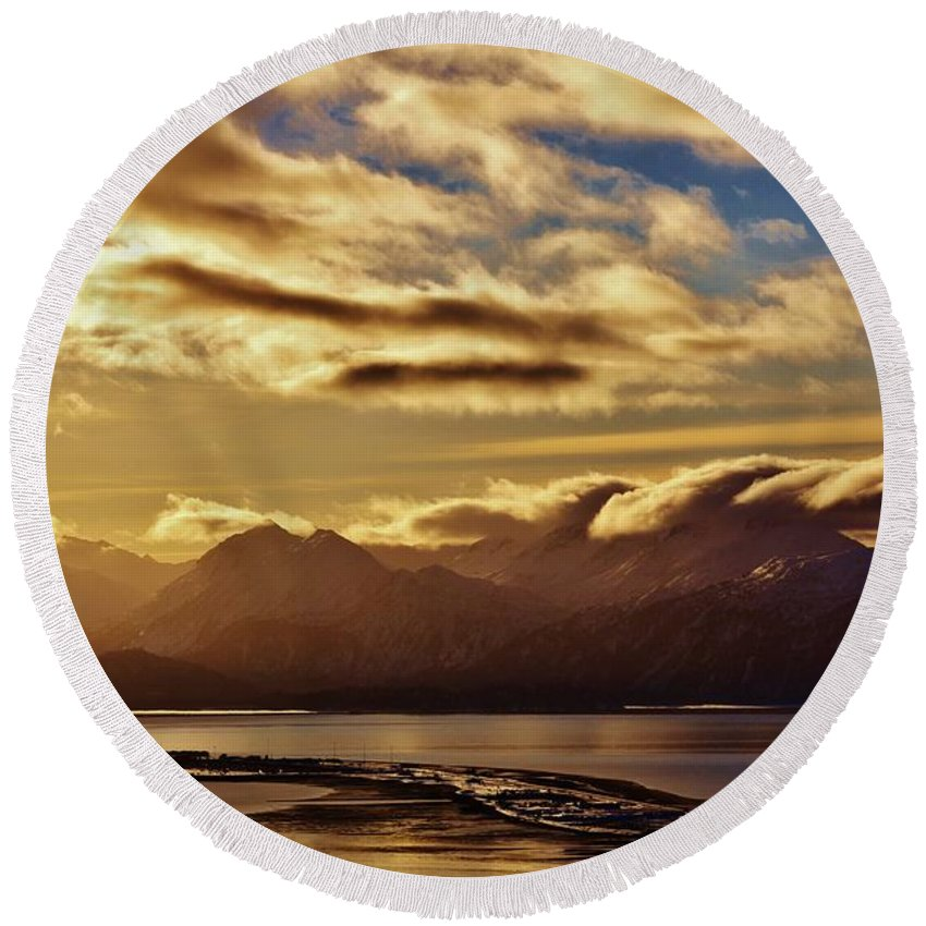 Homer Spit Alaska Round Beach Towel featuring the photograph Sunrise Over The Spit by Lori Mahaffey