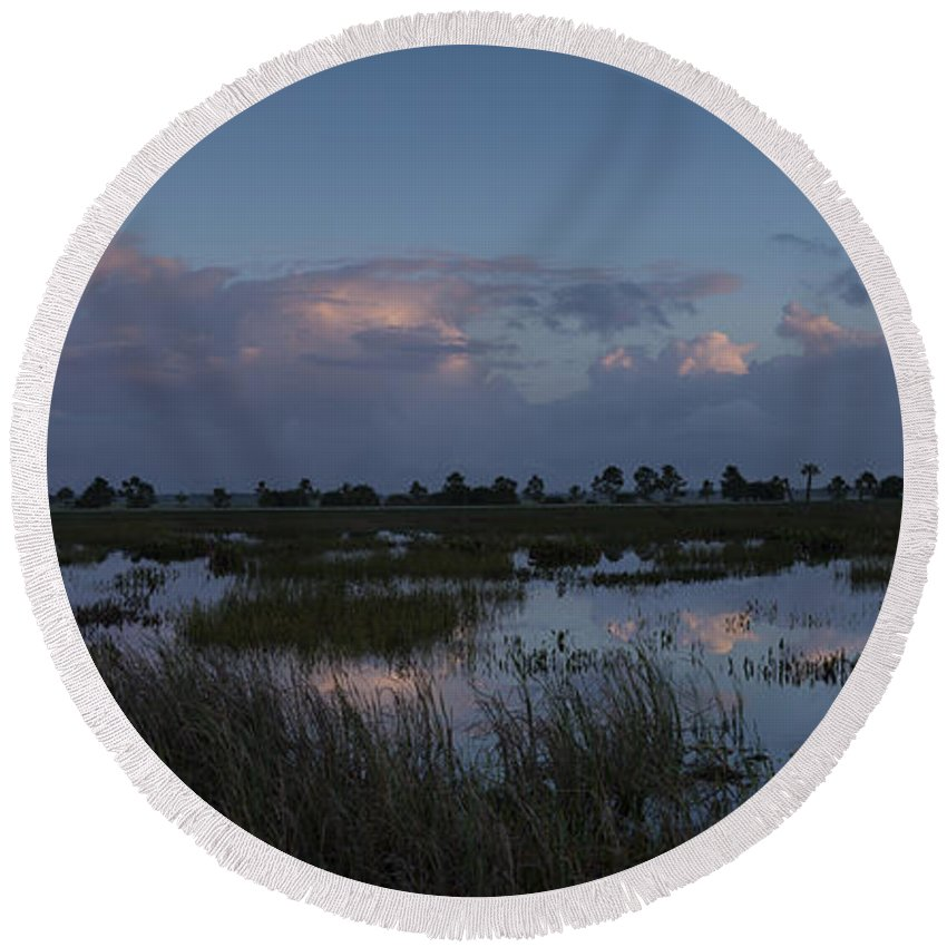 Colorful Round Beach Towel featuring the photograph Sunrise Over The Wetlands by David Watkins