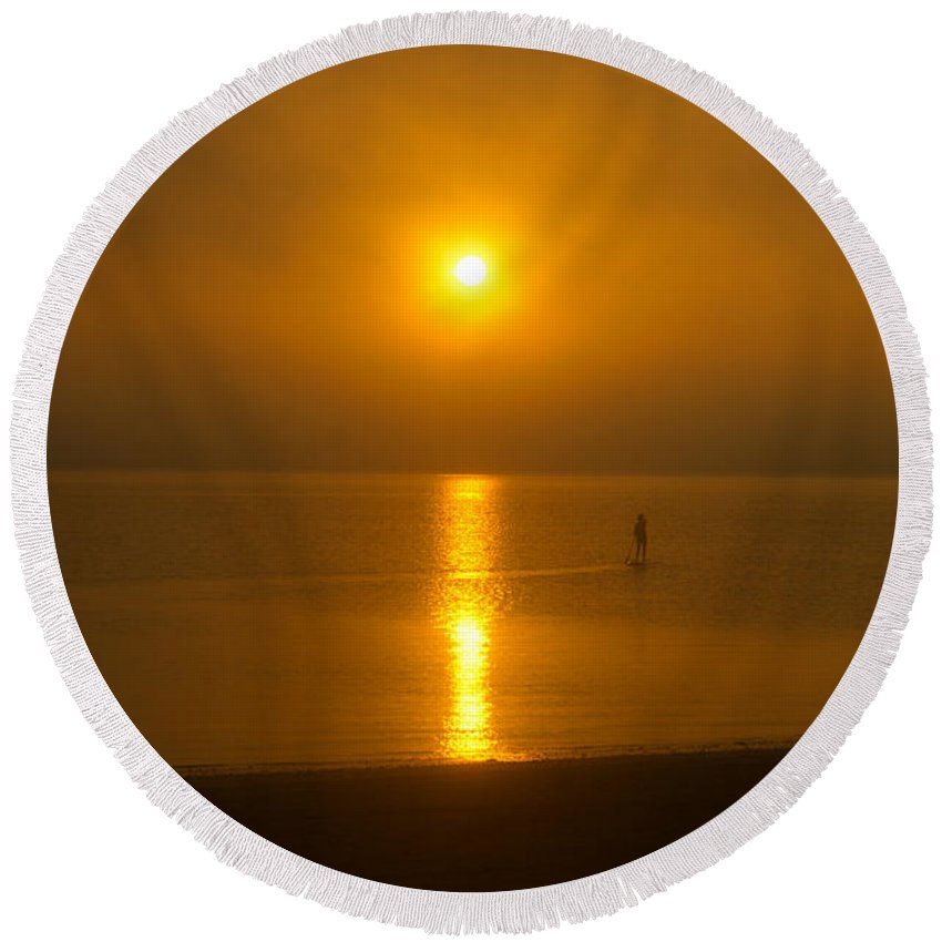 Sun Round Beach Towel featuring the photograph Sunrise Paddler 2 by Ray Konopaske