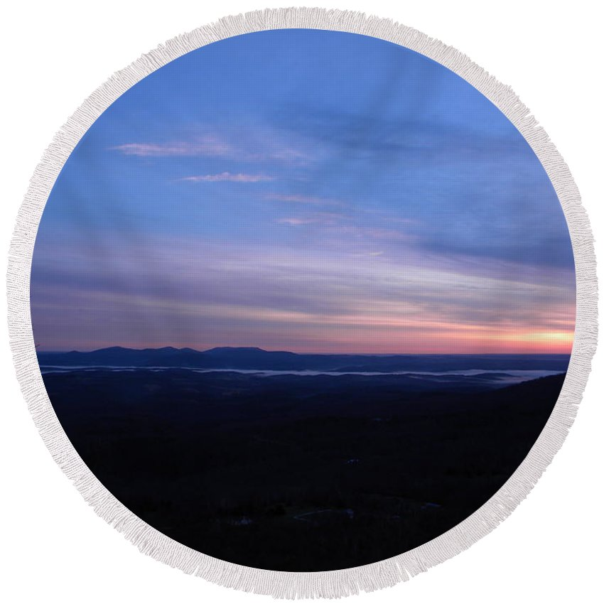 Sunrise Round Beach Towel featuring the photograph Sunrise Point On Highway 7 by Nathanael Smith