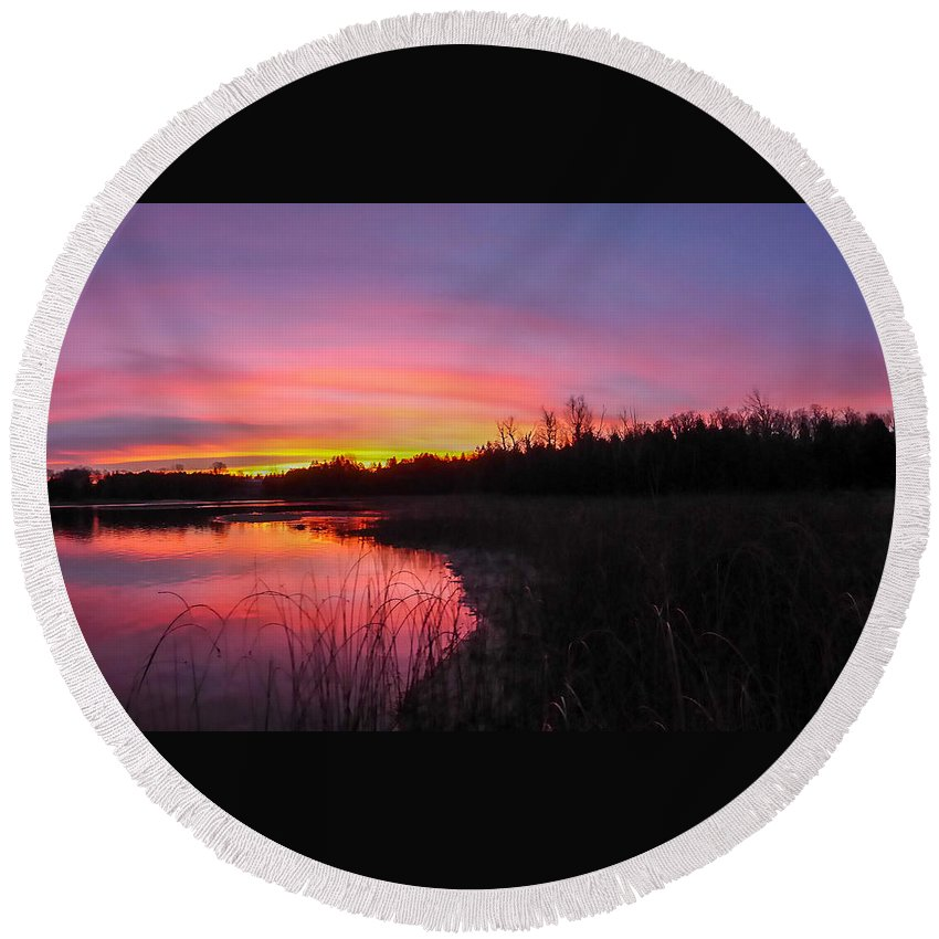 Landscape Round Beach Towel featuring the photograph Sunrise Reflection by Richard Kitchen