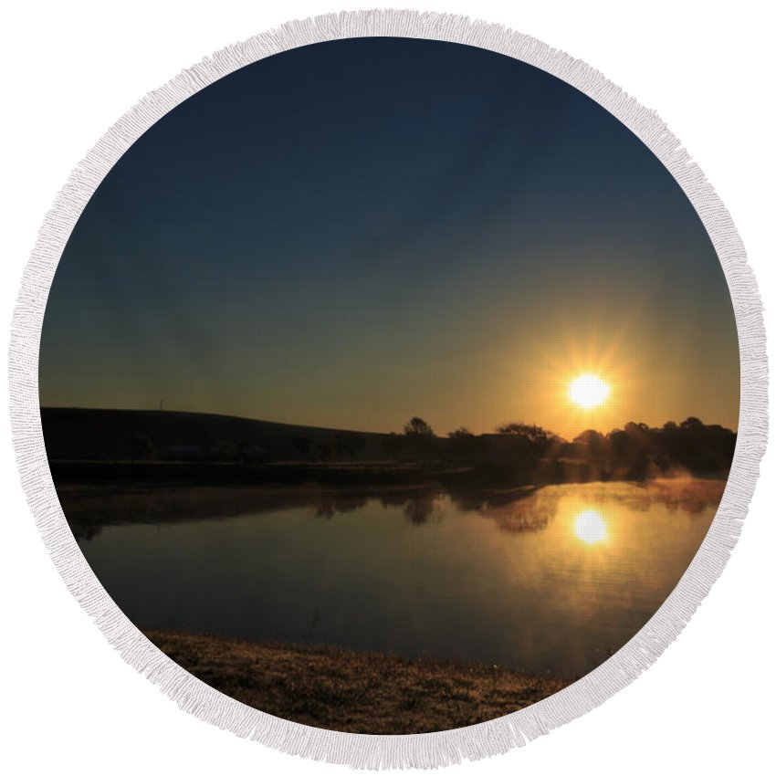 Sun Round Beach Towel featuring the photograph Sunrise Reflection by Travis Rogers
