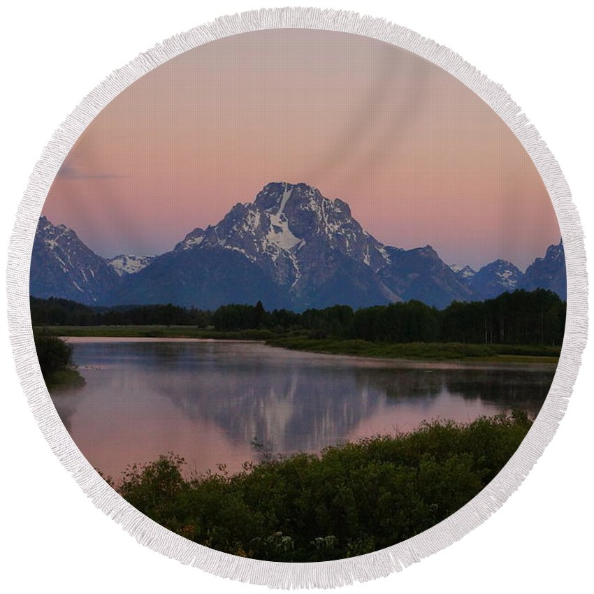 Grand Teton National Park Round Beach Towel featuring the photograph Sunrise Reflections by Beth Collins