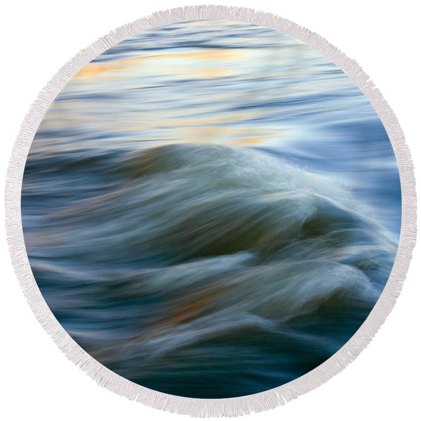Yakima River Photographs Round Beach Towels