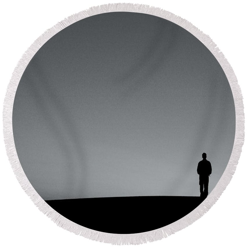 Silhouette Round Beach Towel featuring the photograph Sunrise Silhouette by Scott Sawyer