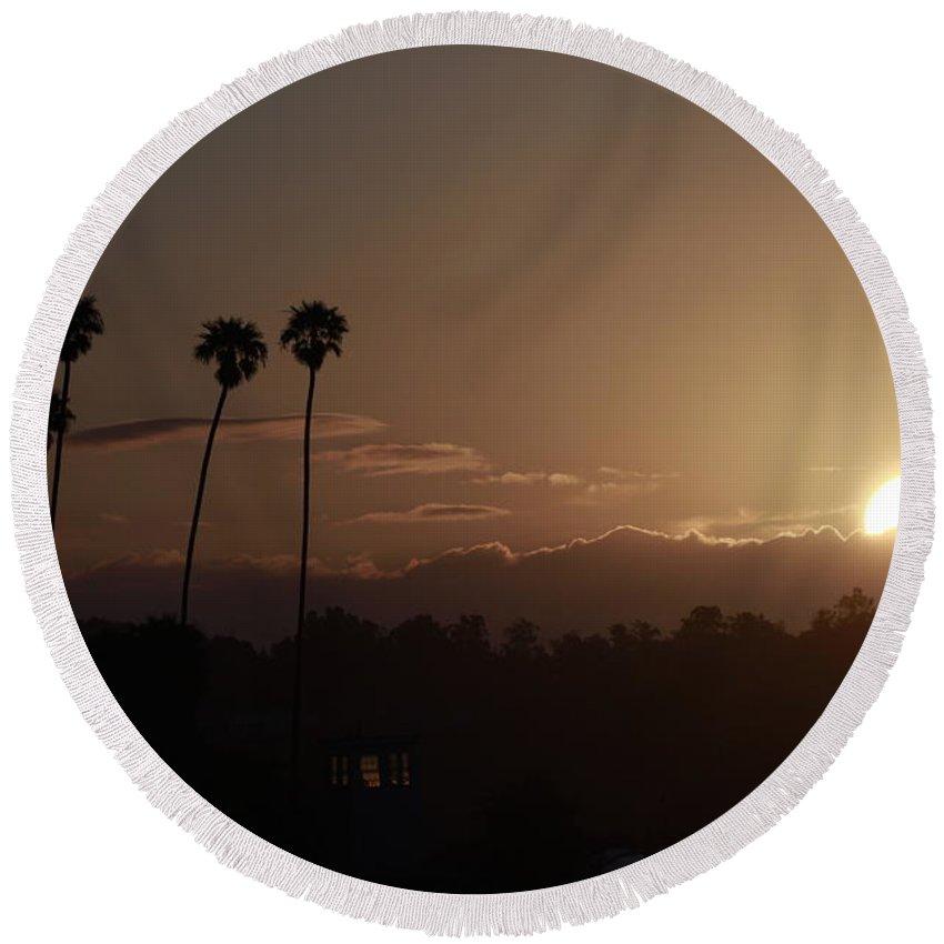 Sunrise Round Beach Towel featuring the photograph Sunrise So. California by Nick Mattea