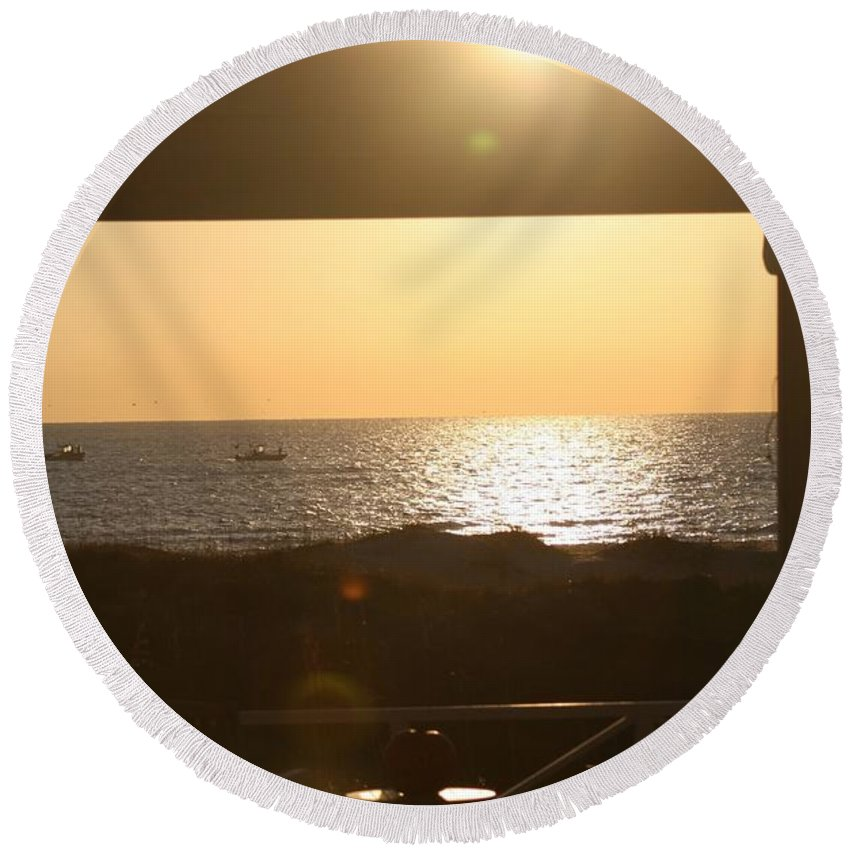 Sunrise Round Beach Towel featuring the photograph Sunrise Through The Pavilion by Nadine Rippelmeyer