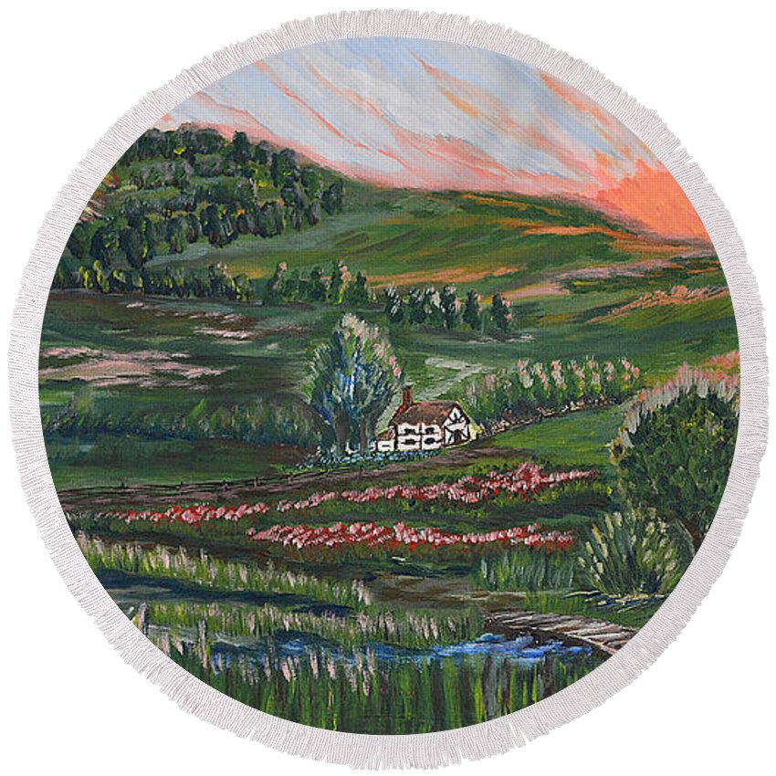 Building Round Beach Towel featuring the painting Sunrise Touch by Felicia Tica