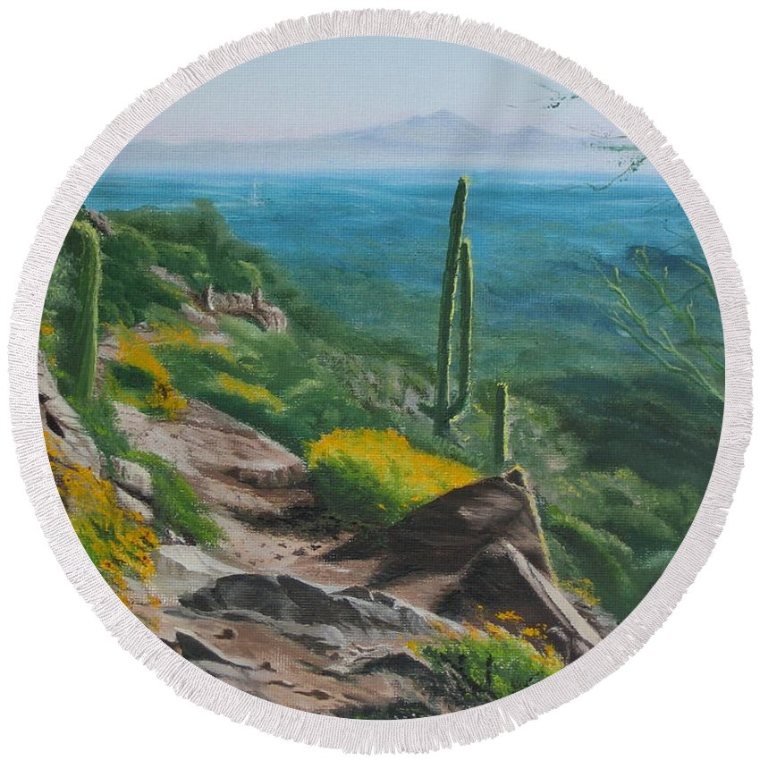 Landscape Round Beach Towel featuring the painting Sunrise Trail by Lea Novak