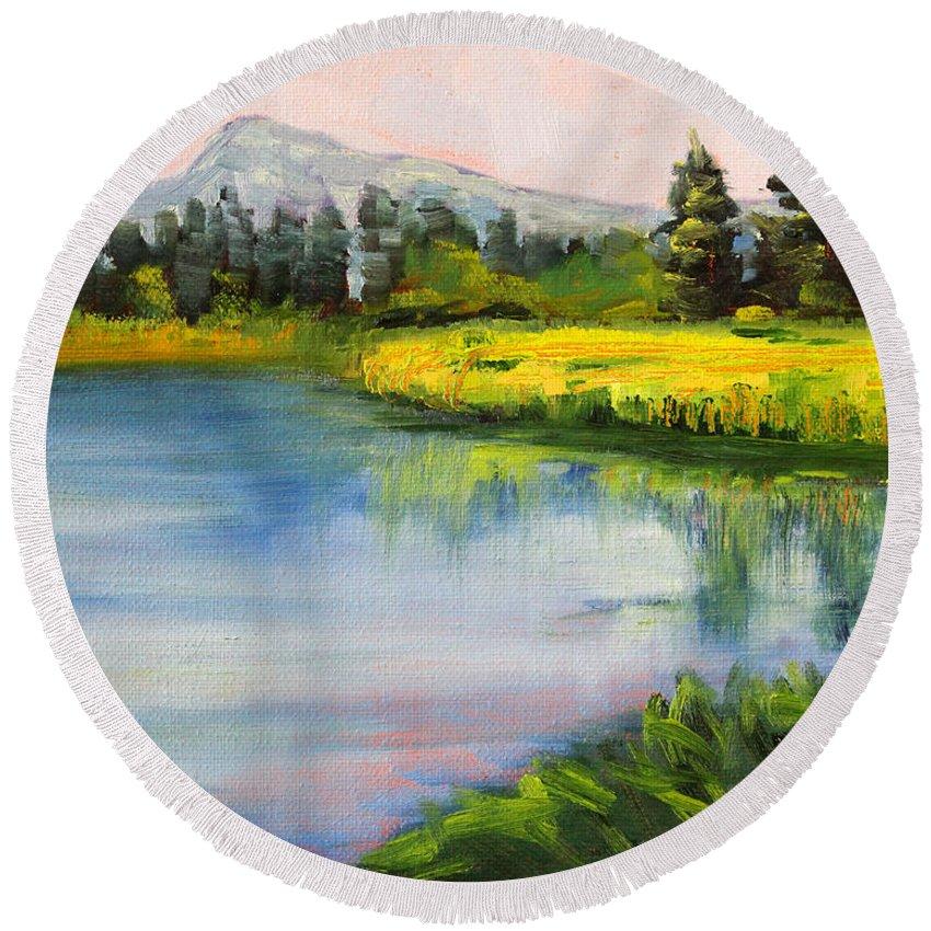 Sunriver Oregon Round Beach Towel featuring the painting Sunriver by Nancy Merkle