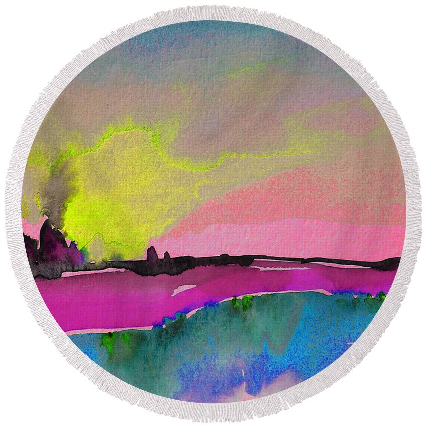 Landscape Round Beach Towel featuring the painting Sunset 09 by Miki De Goodaboom