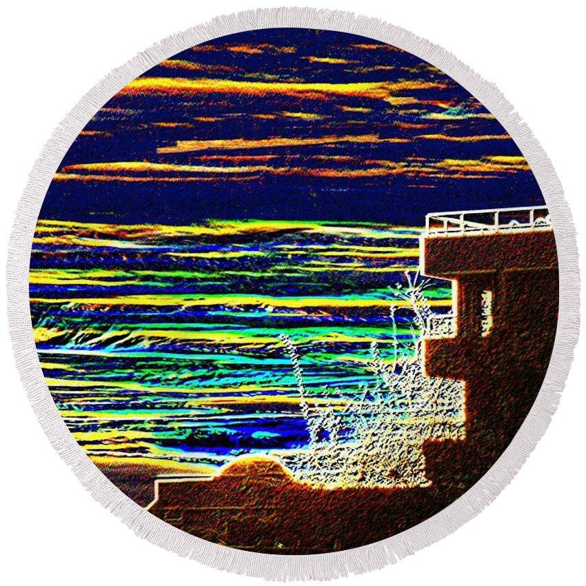 Seattle Round Beach Towel featuring the digital art Sunset 1 by Tim Allen