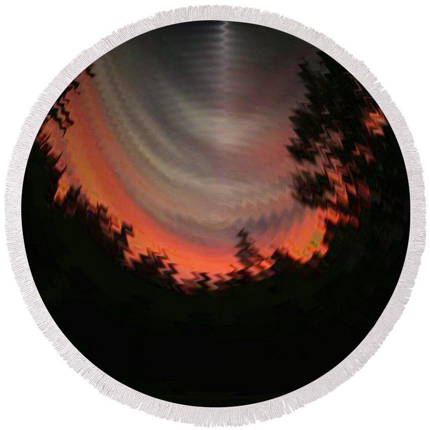 Sunset Round Beach Towel featuring the digital art Sunset 3 by Tim Allen