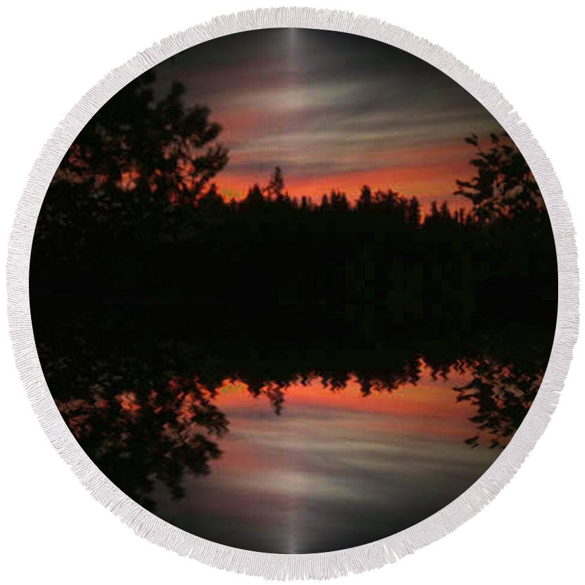 Sunset Round Beach Towel featuring the photograph Sunset 4 by Tim Allen