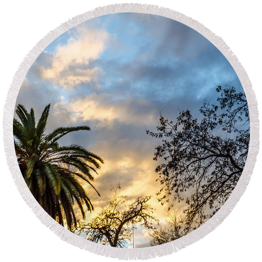 Summer Round Beach Towel featuring the photograph Sunset - A Natural Wonder by Andrea Mazzocchetti