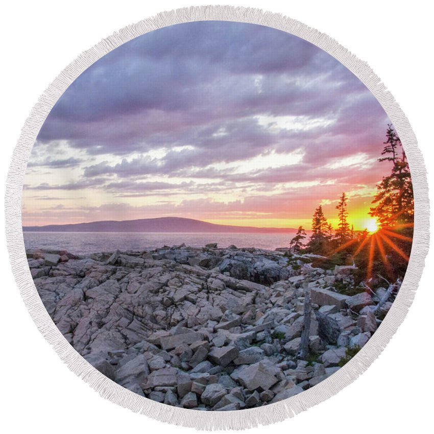 Acadia National Park Round Beach Towel featuring the photograph Sunset Acdia National Park by Trace Kittrell