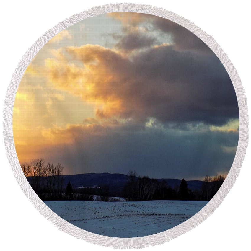 Sunset Round Beach Towel featuring the photograph Sunset After Wild Day by William Tasker