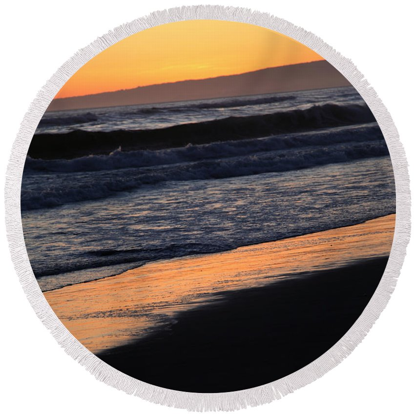 sunset Beach Round Beach Towel featuring the photograph Sunset by Amanda Barcon