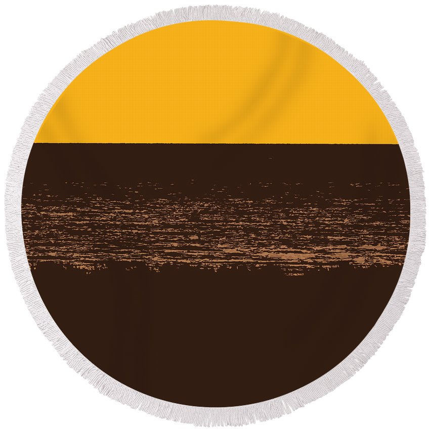 Golden Round Beach Towel featuring the photograph Sunset And Lake Michigan by Michelle Calkins