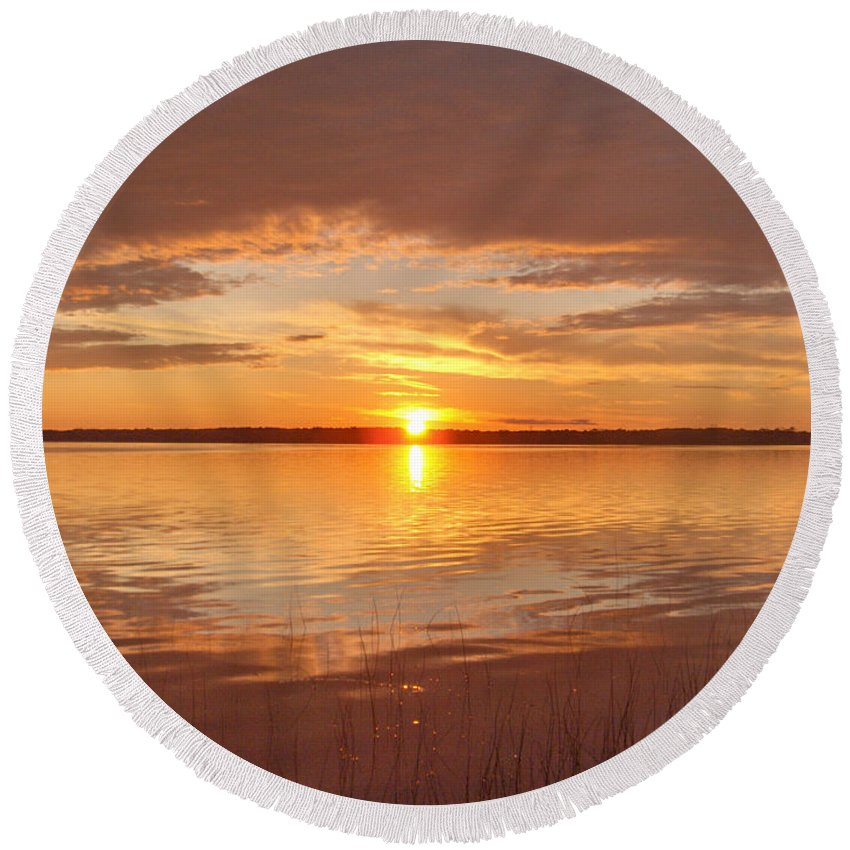 Lake Water Shore Reeds Beach Sunset Sky Round Beach Towel featuring the photograph Sunset by Andrea Lawrence
