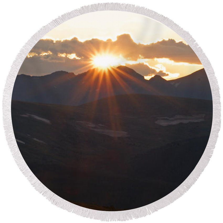 Sunset Round Beach Towel featuring the photograph Sunset At 12.000 Feet by Heather Coen