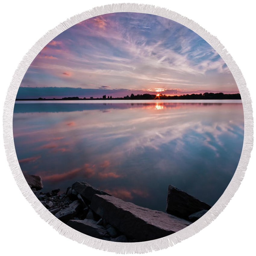 Sunrise Round Beach Towel featuring the photograph Sunset at Anglezarke Reservoir #1, Rivington, Lancashire, North West England by Anthony Lawlor
