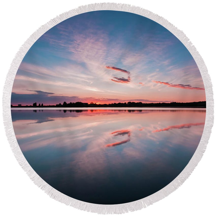 Sunrise Round Beach Towel featuring the photograph Sunset at Anglezarke Reservoir #3, Rivington, Lancashire, North West England by Anthony Lawlor