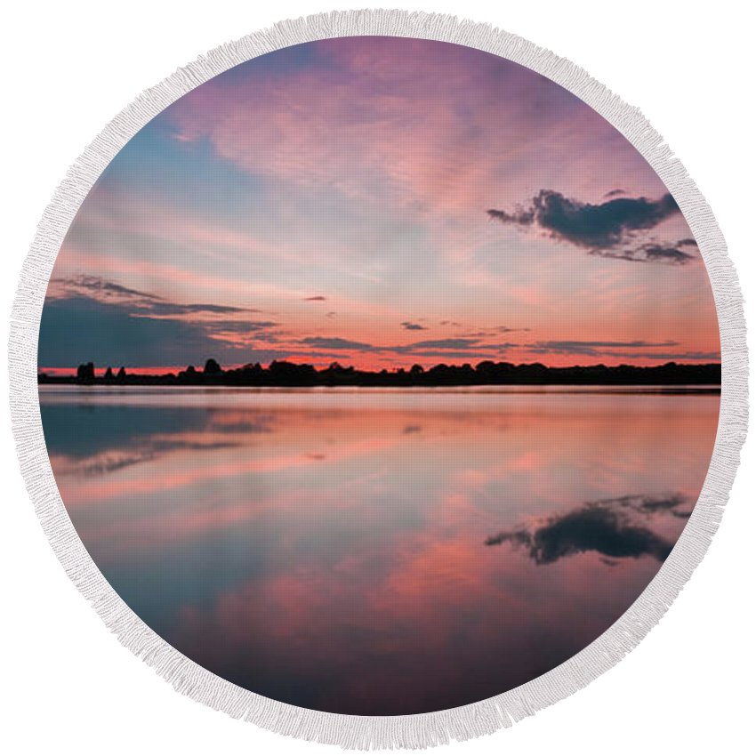 Sunrise Round Beach Towel featuring the photograph Sunset at Anglezarke Reservoir #4, Rivington, Lancashire, North West England by Anthony Lawlor