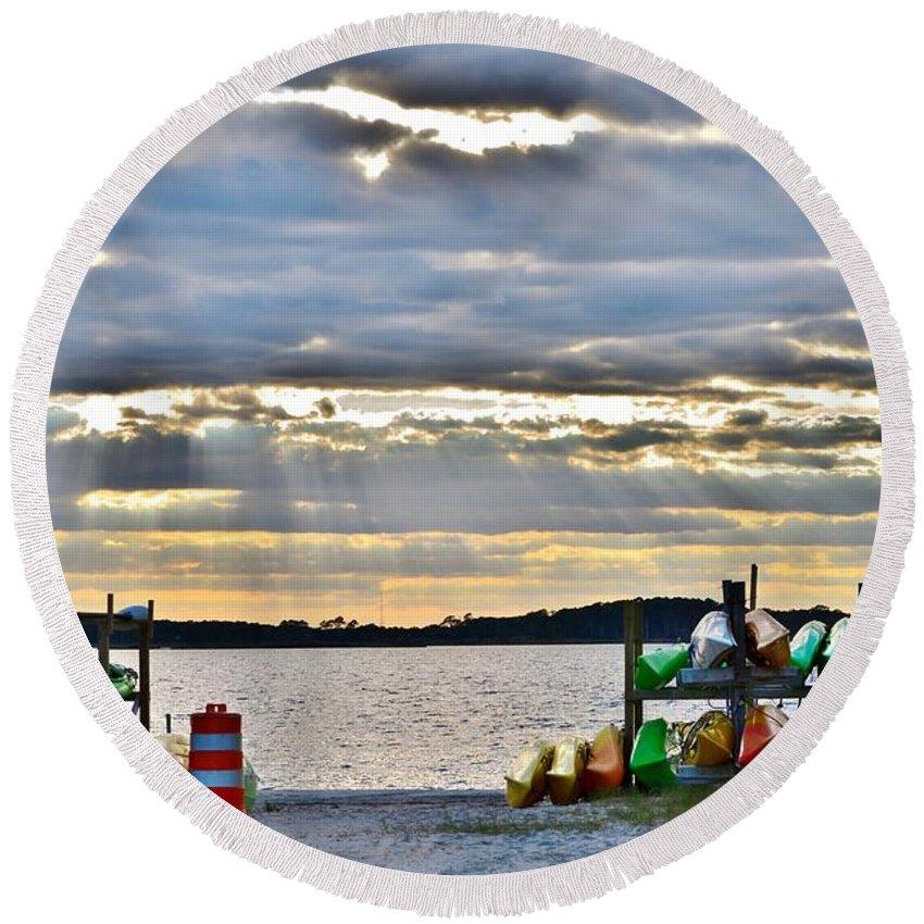 Kayak Round Beach Towel featuring the photograph Sunset At Coastal Kayak by Kim Bemis