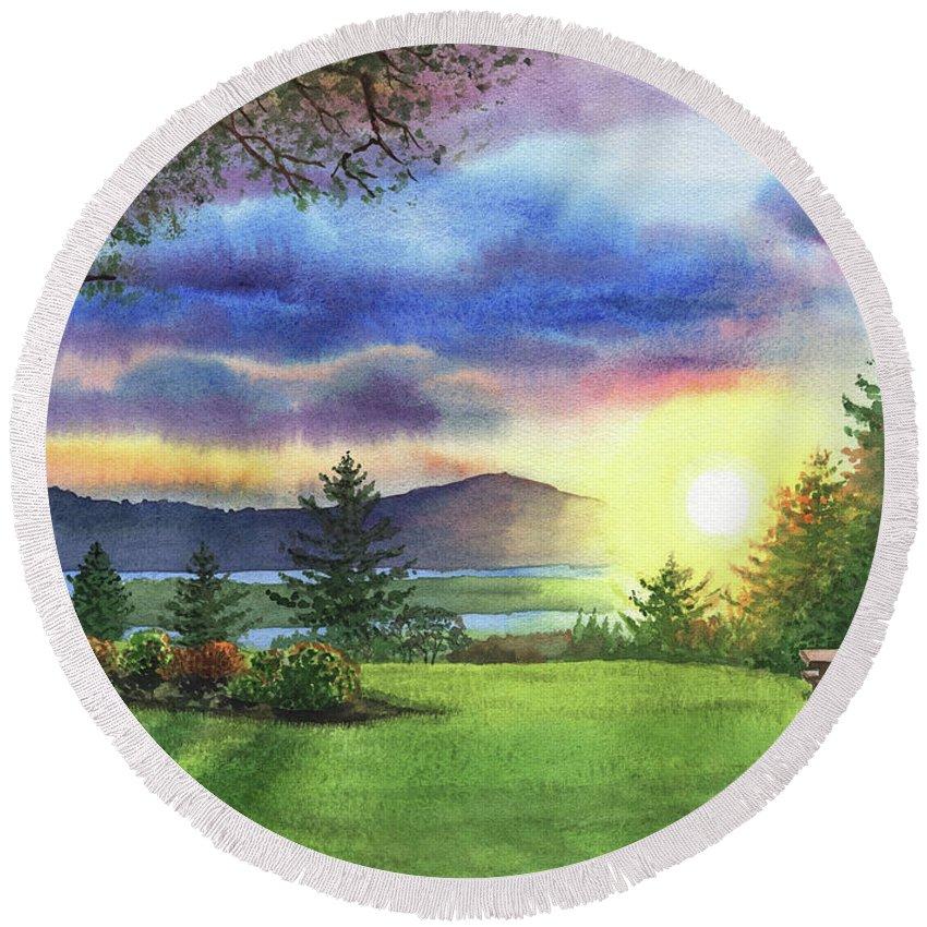 Columbia River Round Beach Towel featuring the painting Sunset At Columbia River State Of Washington by Irina Sztukowski