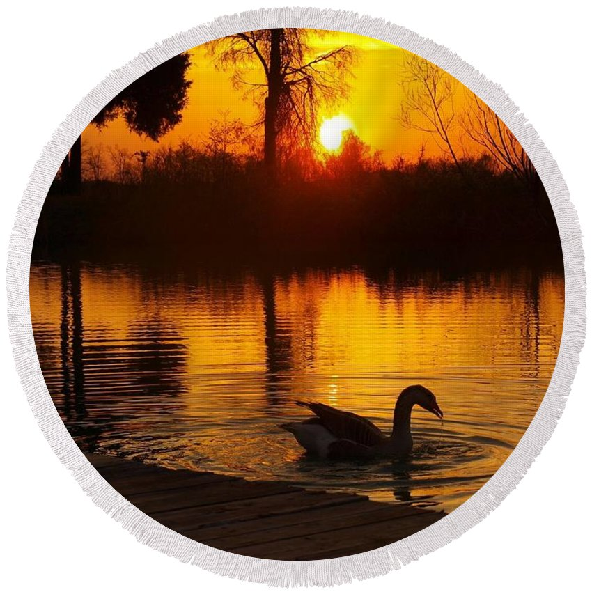 Goose On The Lake At Sunset. Round Beach Towel featuring the photograph Sunset At Copper Canyon Ranch by Chad Fuller