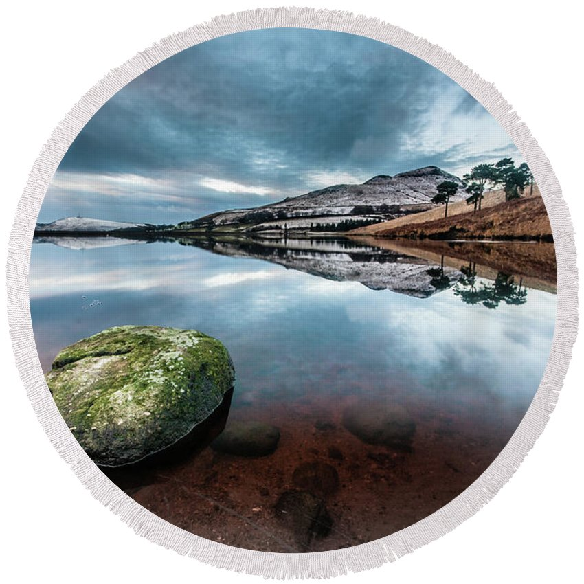 Sunset Round Beach Towel featuring the photograph Sunset at Dovestone Reservoir, Greater Manchester, North West England by Anthony Lawlor