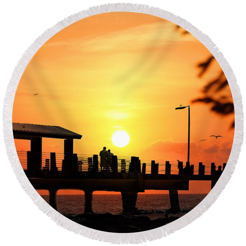 Fort De Soto Round Beach Towel featuring the photograph Sunset At Fort De Soto Fishing Pier Pinellas County Park St. Petersburg Florida by Mal Bray