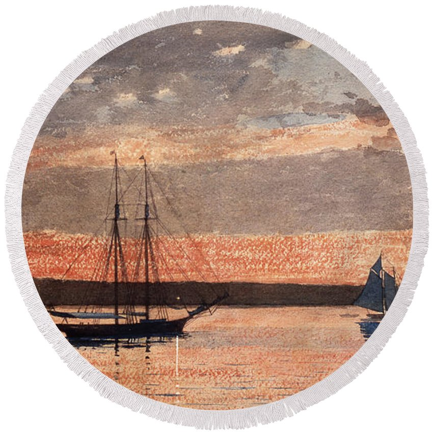 19th Century American Painters Round Beach Towel featuring the painting Sunset At Gloucester by Winslow Homer