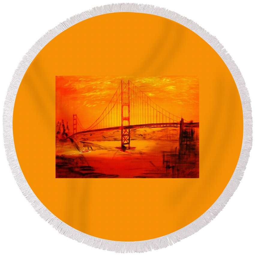 Sunset At Golden Gate Round Beach Towel featuring the painting Sunset At Golden Gate by Helmut Rottler