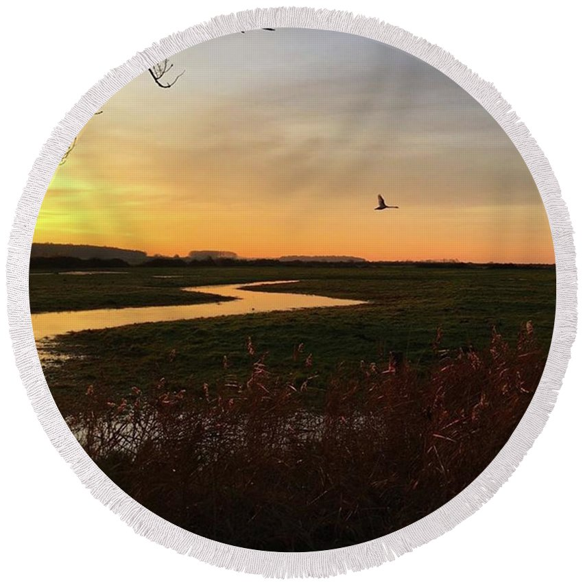 Natureonly Round Beach Towel featuring the photograph Sunset At Holkham Today  #landscape by John Edwards