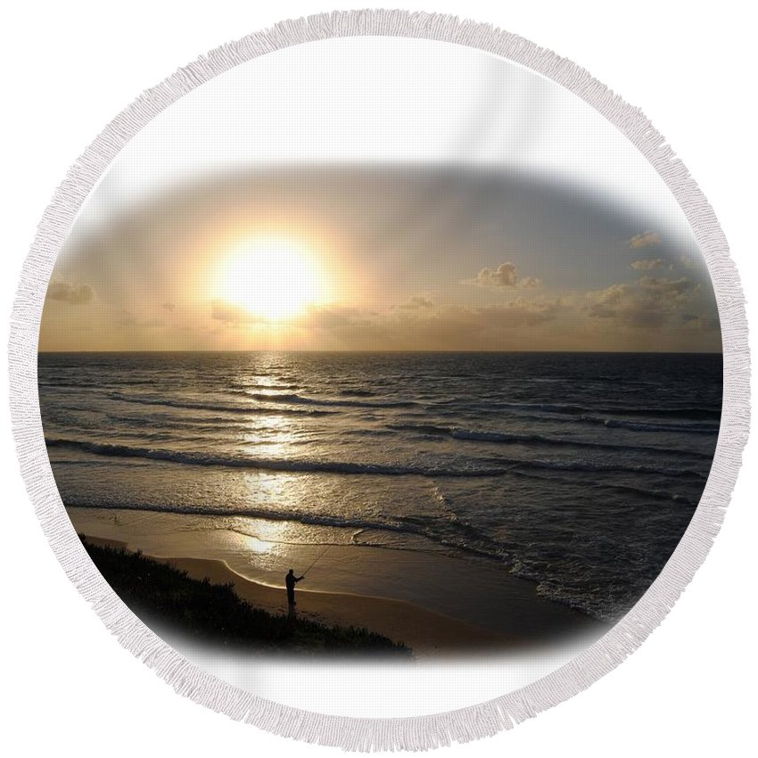 Beach T-shirt Round Beach Towel featuring the photograph Sunset At Jaffa Beach T-shirt by Isam Awad