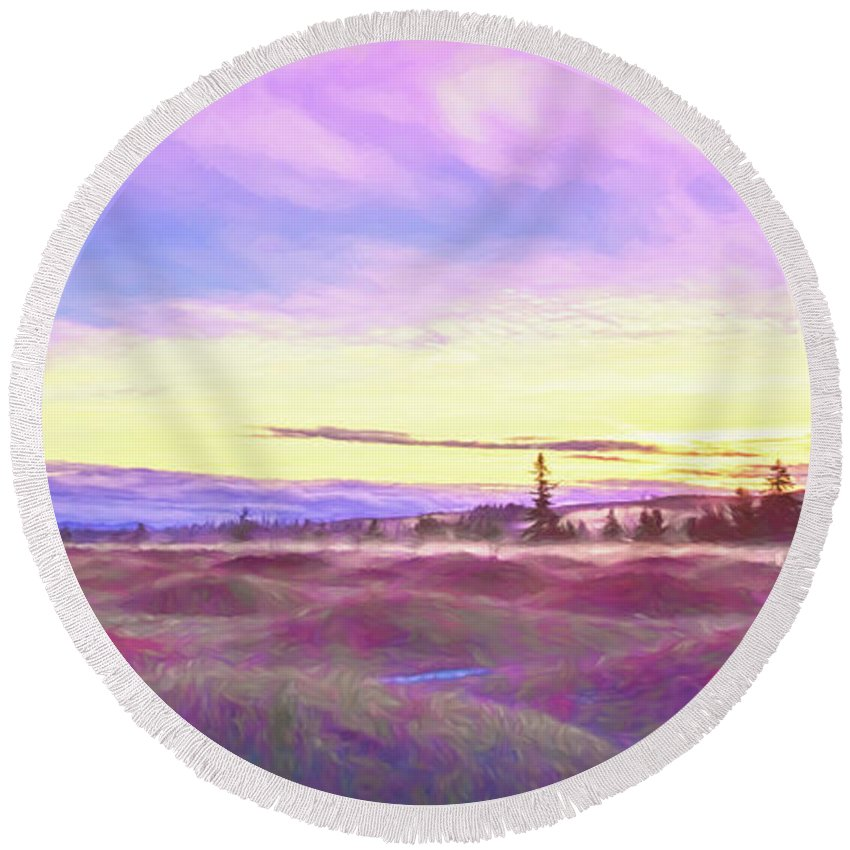 Sky Round Beach Towel featuring the photograph Sunset At Mima Mounds by Jean OKeeffe Macro Abundance Art